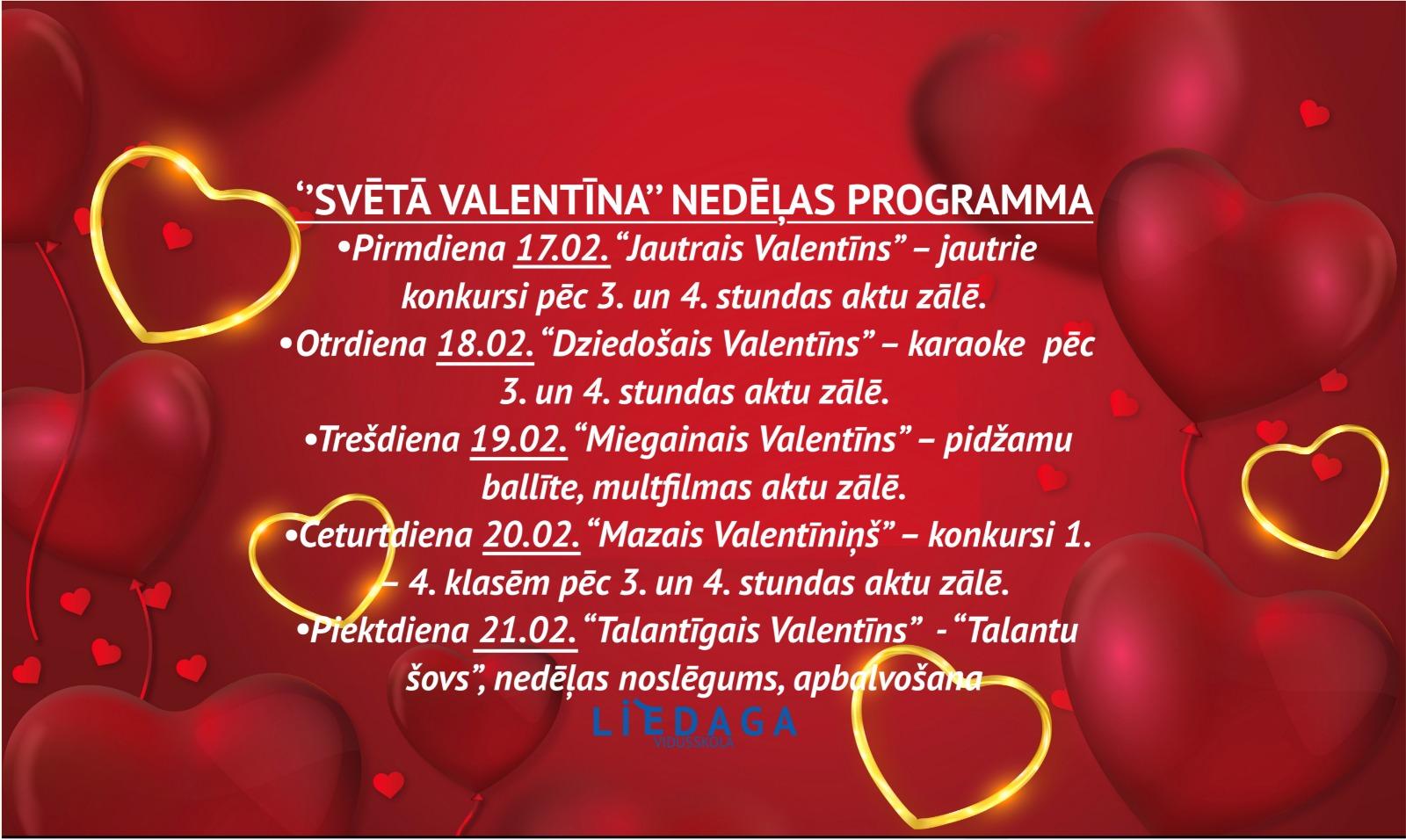 """""""Svētā Valentīna"""" nedēļas programma"""