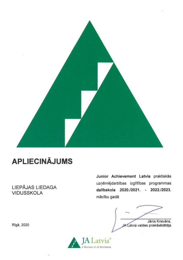 Apliecinajums Junior Achievement