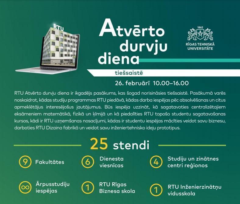 RTU atvērto durvju diena tiešsaistē
